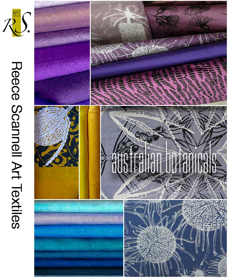 Hand Printed Textiles in Blue, Purple and Yellow Tones.