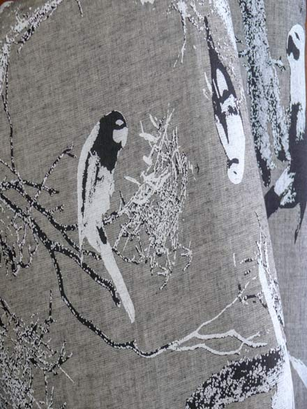Screen Printed Birds Scenes on Linen