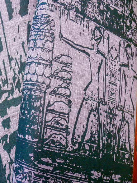 Screen Printed Egyptian Scenes on Linen Rami