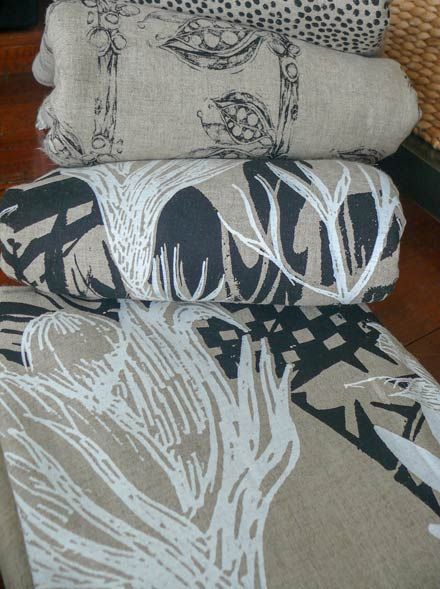 Pods and Gymea Lily Hand-screen on Natural Linen