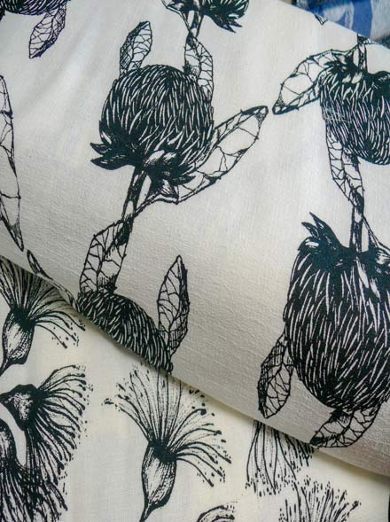 Screen Printed Telopea and Eucalyptus on Cotton