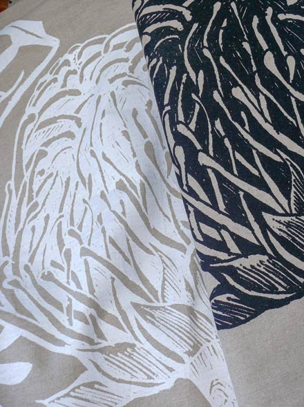 Screen Printed Telopea on Linen in Duo Tone